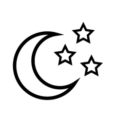 Star shape and moon design isolated figure of vector image