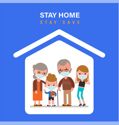 stay home during coronavirus epidemic family vector image