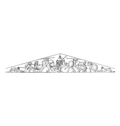 Temple of aegina the western pediment vintage vector