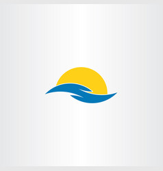 tourism icon water wave sun symbol logo clip art vector image