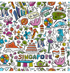 Travel to singapore seamless pattern for your vector