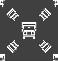 Truck icon sign Seamless pattern on a gray vector