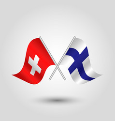 Two crossed swiss and finnish flags vector