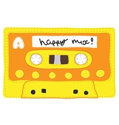 Vintage cassette tape stitched together vector