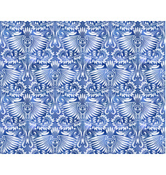 Vintage indigo dyed seamless pattern damask vector