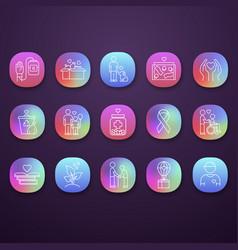 Volunteering app icons set reliance on volunteers vector