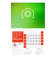 wall calendar template for 2018 year september vector image