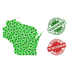 welcome collage of map of wisconsin state and vector image