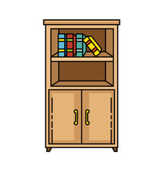 wood bookcase isolated icon vector image