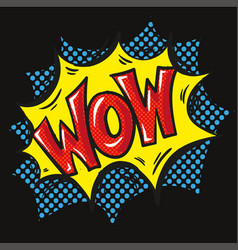 wow explosion pop art over black background vector image