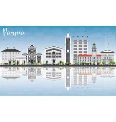 Parma Skyline with Gray Buildings Blue Sky vector image