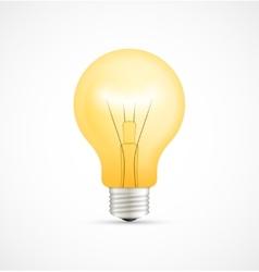 Realistic glowing yellow light bulb vector image