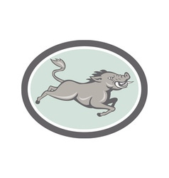 Wild Boar Razorback Jumping Side Cartoon vector image vector image