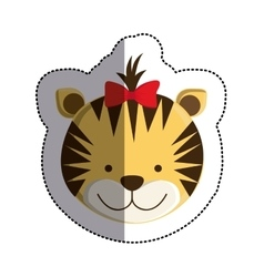 Color sticker with female tiger head and middle vector