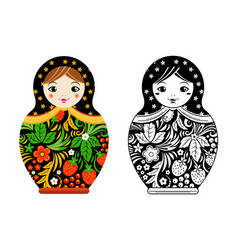 retro russian doll matryoshka painted at vector image