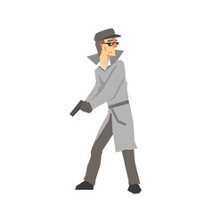detective character with gun private investigator vector image