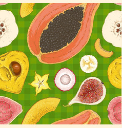 Seamless pattern with ripe fruits mix vector