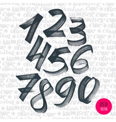 Alphabet numbers digital style hand-drawn doodle vector image