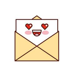 kawaii email envelope letter message cartoon vector image vector image