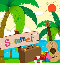 Summer theme with ocean view vector image vector image