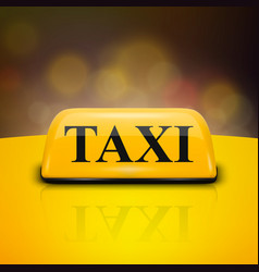 3d realistic yellow french taxi sign on car vector