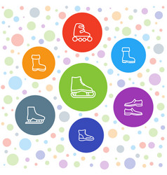 7 boot icons vector image