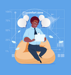 African american business man sit in comfort zone vector