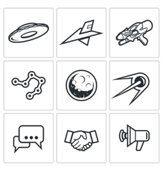 Aliens search Contact icons vector