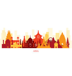 asia skyline landmarks colorful silhouette vector image