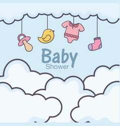 Bashower hanging clothes toys sky clouds vector
