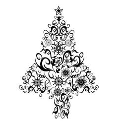 Black decor xmas tree vector