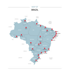 Brazil map with red pin vector