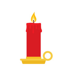 burning candle with a holder vector image