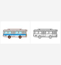 Bus coloring page city side view vector