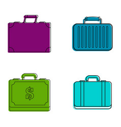 business case icon set color outline style vector image