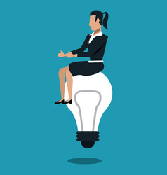 Business woman seated on bulb vector