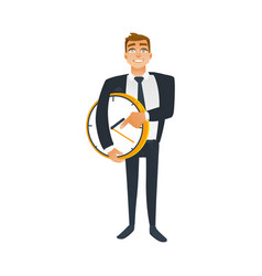 businessman and time concept with young office vector image