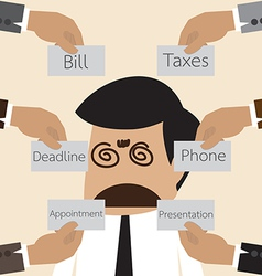 Businessman get confuse with many think to do vector