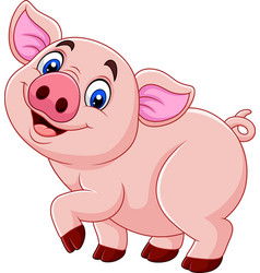 cartoon happy pig isolated on white background vector image