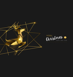 christmas and new year gold 3d deer greeting card vector image