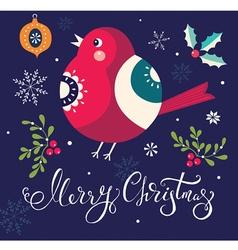 christmas with bullfinch vector image