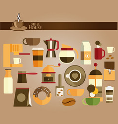 Coffee elements flat icons set in web design vector