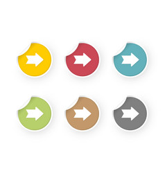 colored stickers set with arrows icon vector image