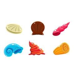 Colorful fantasy glossy seashells set user vector