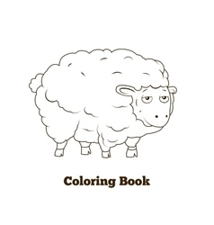 Coloring book sheep cartoon educational vector image