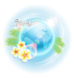 Concept travel with airplane globe vector