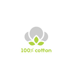 Cotton seed icon 100 green label vector