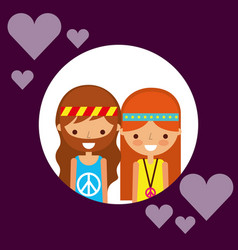 couple hippie man and woman character love hearts vector image
