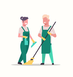 couple janitors man woman in uniform cleaning vector image