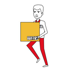 Courier worker with box avatar character vector